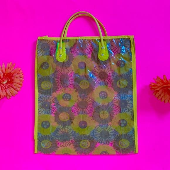 Vintage Handbags - Vintage 60s clear vinyl flower power bag NOS